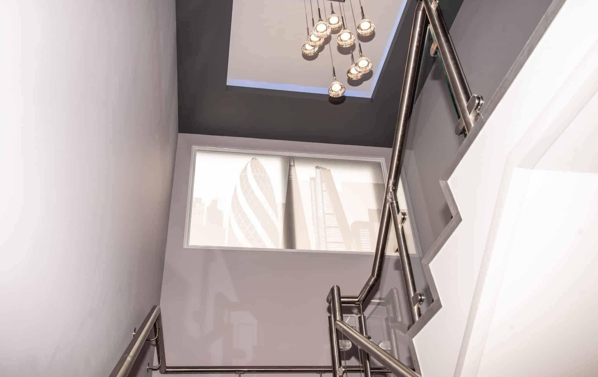 Rampe d'escalier en inox bureaux