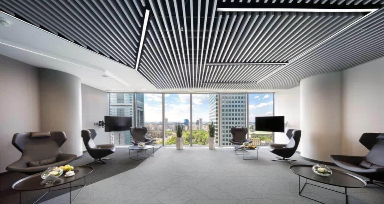 Lames de plafond aluminium pour bureaux