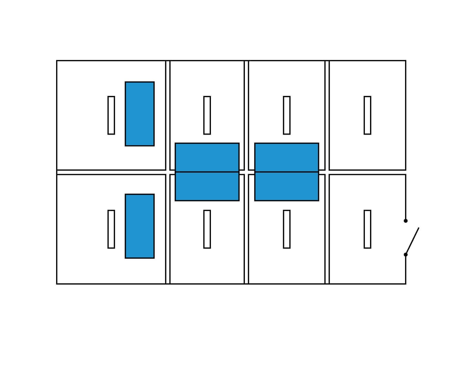 Implantation isolant amovible entre bureaux