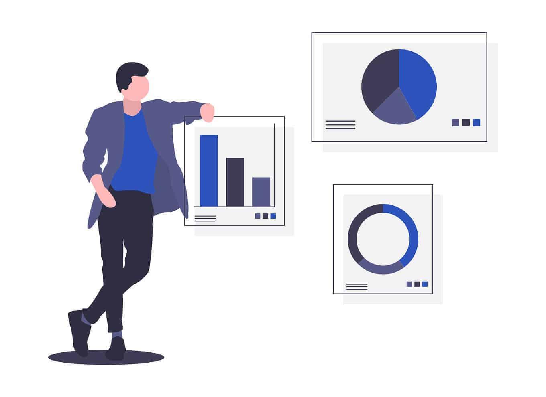 Présentation d'indicateurs KPI en entreprise - création de bureaux Kytom